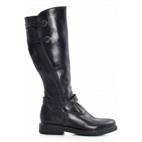Дамски ботуши - естествена кожа - черни - EO-16912