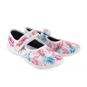 Детски обувки - висококачествен текстилен материал - бели - EO-15667