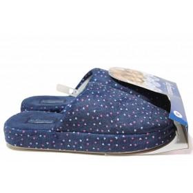 Домашни чехли - висококачествен текстилен материал - сини - EO-17028