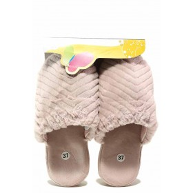 Домашни чехли - висококачествен текстилен материал - розови - EO-17339