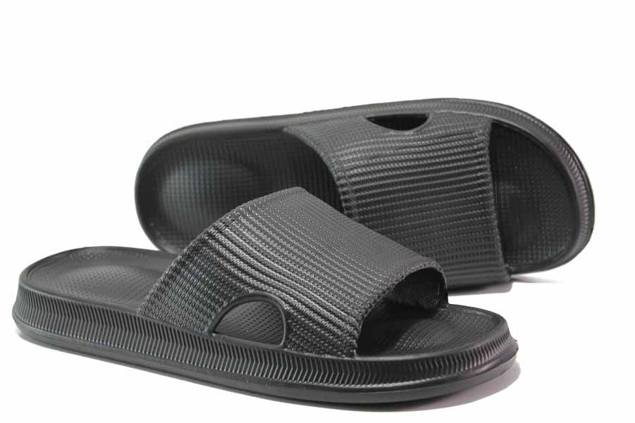 Мъжки чехли - висококачествен pvc материал - черни - EO-15688