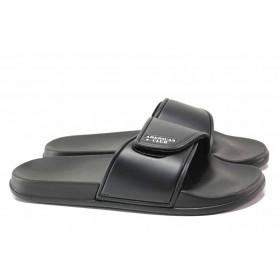Джапанки - еко-кожа с текстил - черни - EO-15989