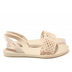 Дамски сандали - висококачествен pvc материал - бежови - EO-16051