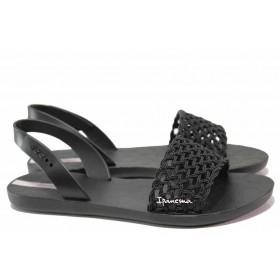Дамски сандали - висококачествен pvc материал - черни - EO-16031
