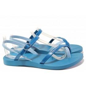 Дамски сандали - висококачествен pvc материал - сини - EO-16034