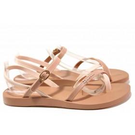 Дамски сандали - висококачествен pvc материал - бежови - EO-16036