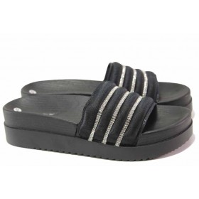 Дамски чехли - висококачествен текстилен материал - черни - EO-16691