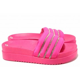 Дамски чехли - висококачествен текстилен материал - розови - EO-16693