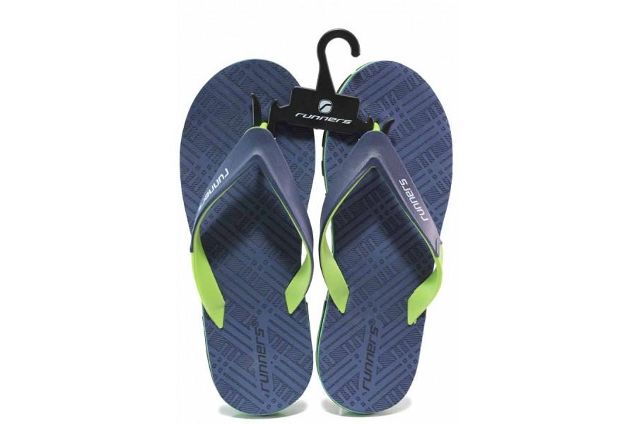 Джапанки - висококачествен pvc материал - сини - EO-16696