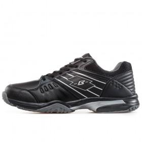 Мъжки маратонки - естествена кожа в съчетание с еко-кожа - черни - EO-17385