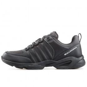 Дамски спортни обувки - висококачествен текстилен материал - черни - EO-17400