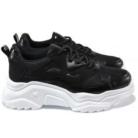 Дамски спортни обувки - еко-кожа с текстил - черни - EO-15338