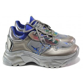 Дамски спортни обувки - еко-кожа с текстил - сиви - EO-15345