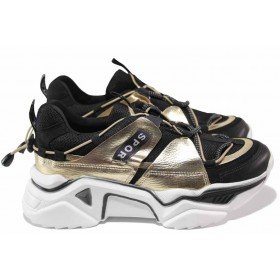 Дамски спортни обувки - еко-кожа с текстил - черни - EO-15341