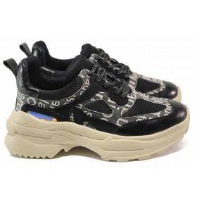 Дамски спортни обувки - еко-кожа с текстил - черни - EO-15342