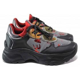 Дамски спортни обувки - еко-кожа с текстил - черни - EO-15346