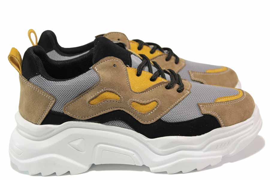 Дамски спортни обувки - еко-кожа с текстил - кафяви - EO-15339