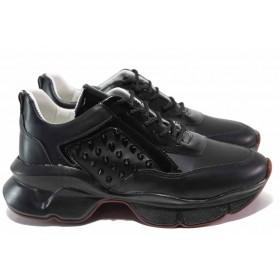 Дамски спортни обувки - висококачествена еко-кожа - черни - EO-15343