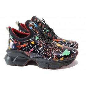 Дамски спортни обувки - висококачествена еко-кожа - черни - EO-15371
