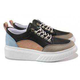 Дамски спортни обувки - висококачествена еко-кожа - черни - EO-15374
