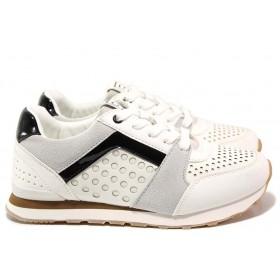 Дамски маратонки - висококачествена еко-кожа - бели - EO-15440