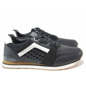 Дамски маратонки - висококачествена еко-кожа - черни - EO-15439