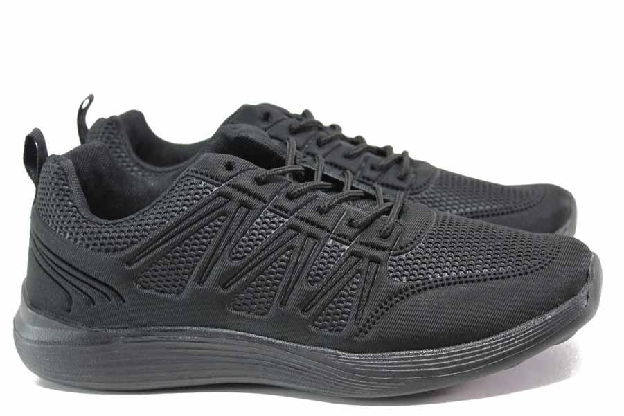 Мъжки маратонки - висококачествен текстилен материал - черни - EO-15431