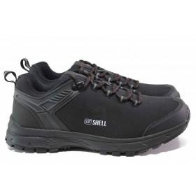 Мъжки маратонки - висококачествен текстилен материал - черни - EO-15568