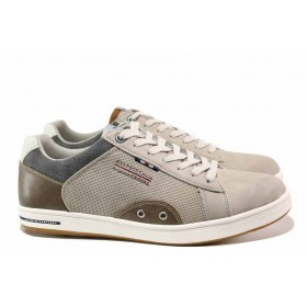 Спортни мъжки обувки - висококачествена еко-кожа - бежови - EO-15561