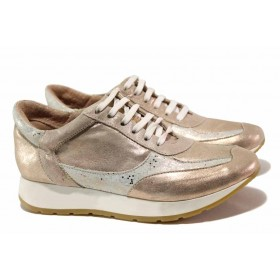 Дамски спортни обувки - естествена кожа - розови - EO-16132