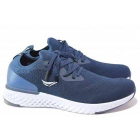 Мъжки маратонки - висококачествен текстилен материал - сини - EO-16717