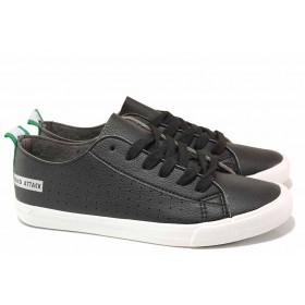 Дамски спортни обувки - висококачествена еко-кожа - черни - EO-16734