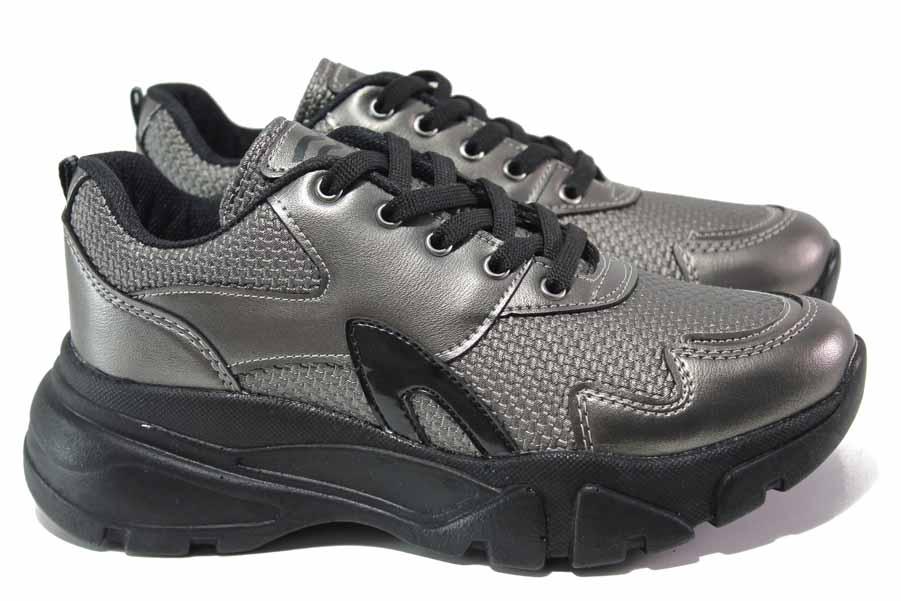 Дамски маратонки - висококачествена еко-кожа - сиви - EO-16979
