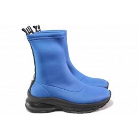 Дамски боти - висококачествен текстилен материал - сини - EO-16980