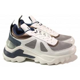 Дамски маратонки - еко-кожа с текстил - бели - EO-16991