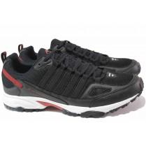 Мъжки маратонки - висококачествен текстилен материал - черни - EO-17003