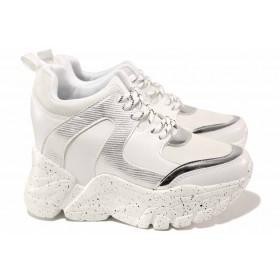 Дамски маратонки - висококачествена еко-кожа - бели - EO-17017