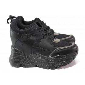 Дамски маратонки - висококачествена еко-кожа - черни - EO-17016