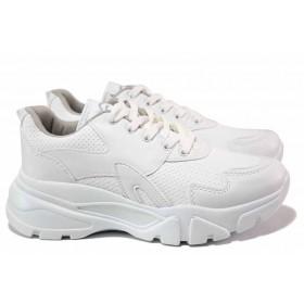 Дамски маратонки - висококачествена еко-кожа - бели - EO-17104