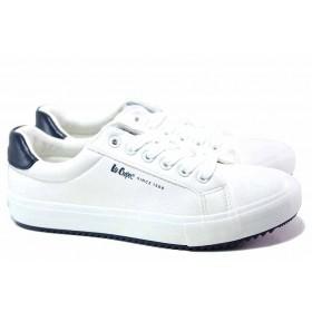 Юношески маратонки - висококачествена еко-кожа - бели - EO-17071