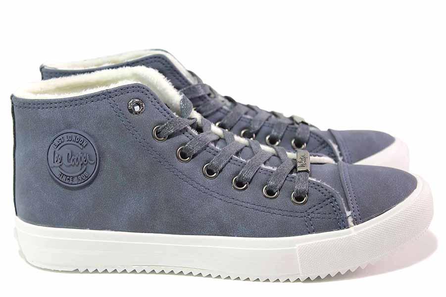 Юношески боти - висококачествена еко-кожа - сини - EO-17078