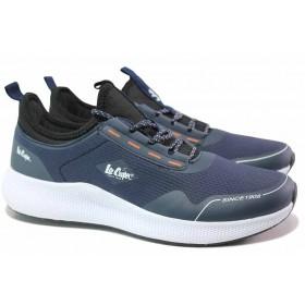 Мъжки маратонки - еко-кожа с текстил - сини - EO-17080