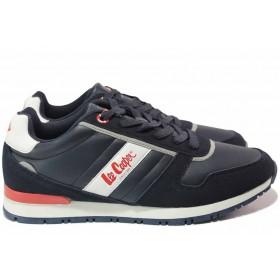 Мъжки маратонки - висококачествена еко-кожа - сини - EO-17081