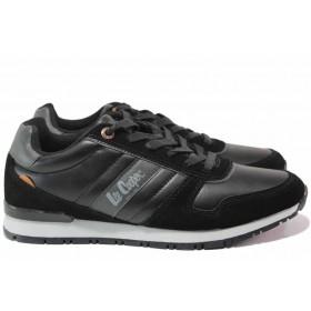 Мъжки маратонки - висококачествена еко-кожа - черни - EO-17088