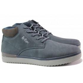 Мъжки боти - висококачествена еко-кожа - сини - EO-17098