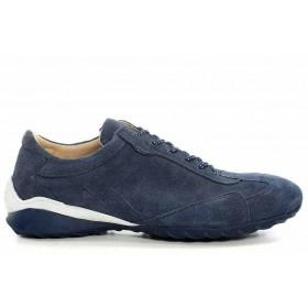 Дамски спортни обувки - естествен велур - сини - EO-16891