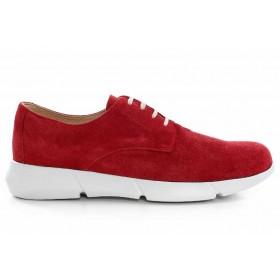 Дамски спортни обувки - естествен велур - червени - EO-16892