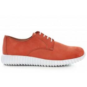 Дамски спортни обувки - естествена кожа - оранжеви - EO-16893