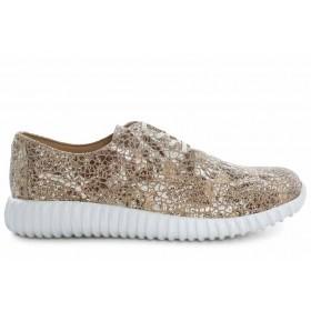 Дамски спортни обувки - естествена кожа - сиви - EO-16895