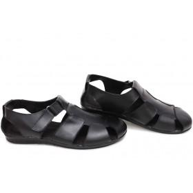 Мъжки сандали - естествена кожа - черни - EO-15704